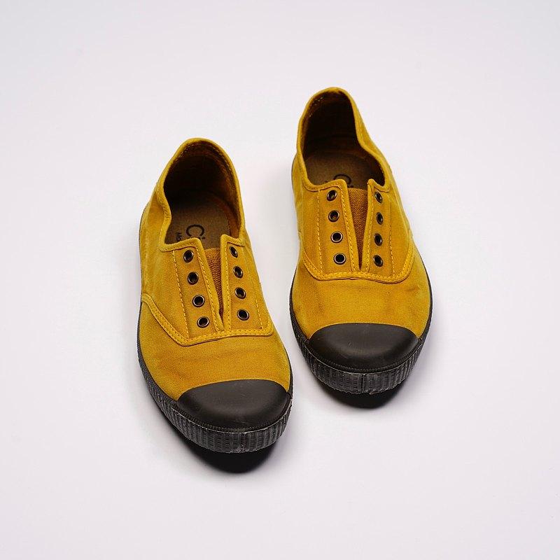 西班牙帆布鞋 CIENTA U70777 85 芥末黃 黑底 洗舊布料 大人