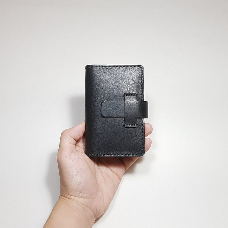 Natural leather Push! Convenient push card holder _ black series