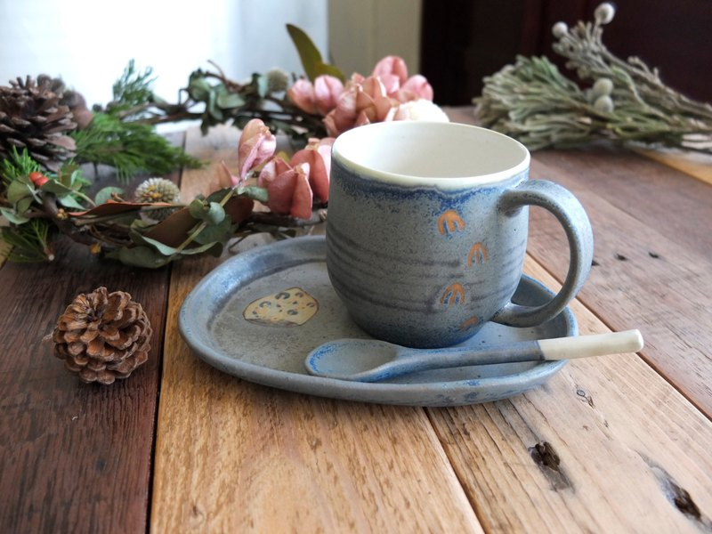Autumn night blue ash coffee cup spoon