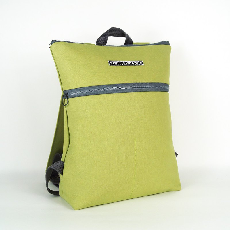 Stylish and lightweight - delicate texture backpack - fruit green gray
