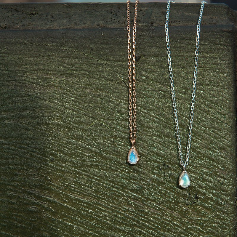 Three claws inlaid with drop-shaped top moonlight stone necklace