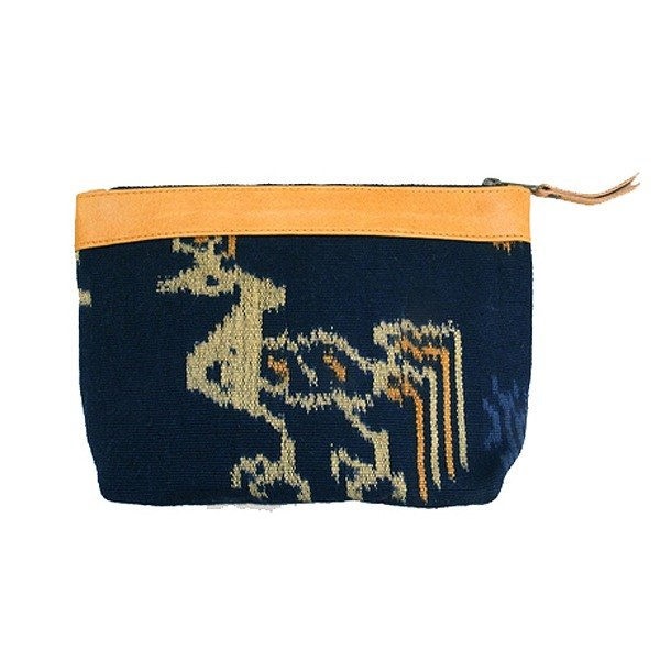 Lamb leather ikat pouch(Blue)