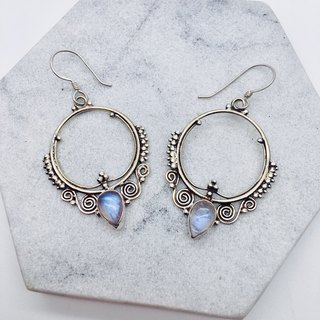 Moonstone Sterling Silver Exotic Earrings Nepal handmade inlay production