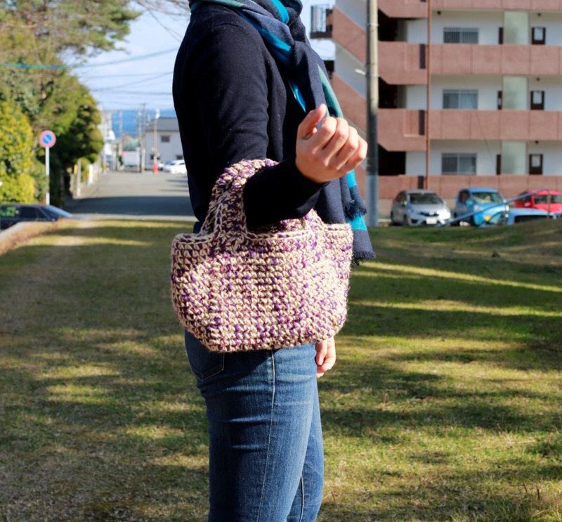 yuoworks / tote bag / handbag / purple / handknit
