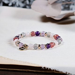 String Series Brass Strawberry Crystal Powder Amethyst Labradorite Bracelet Natural Mineral Crystal