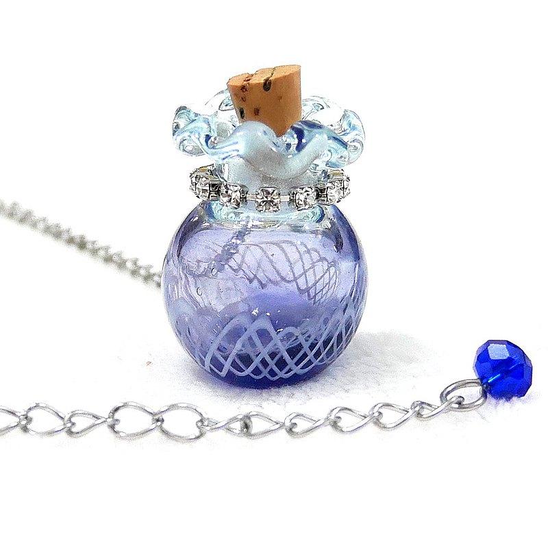 冰藍墨藍漸層蕾絲紋琉璃吹製香氛瓶項鍊