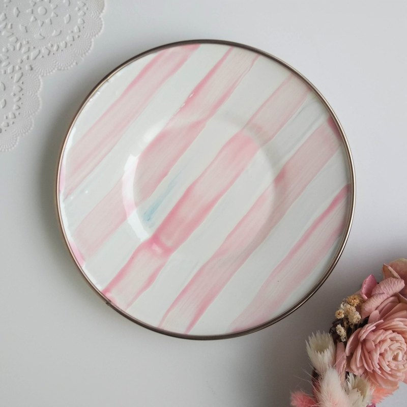 Candy pink striped painted plate