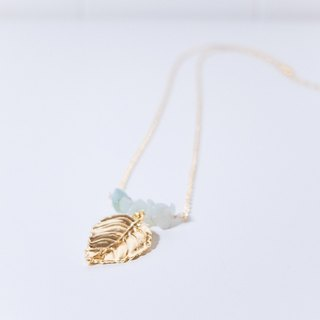 Amazonyte And Leaf Necklace