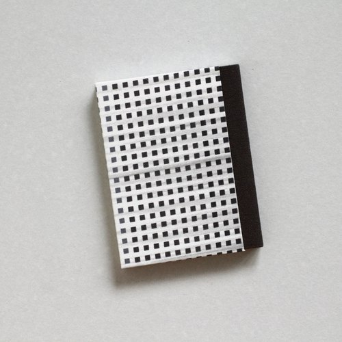 Sewn Board Bound Notebook with Small Square Pattern Covers - Dark