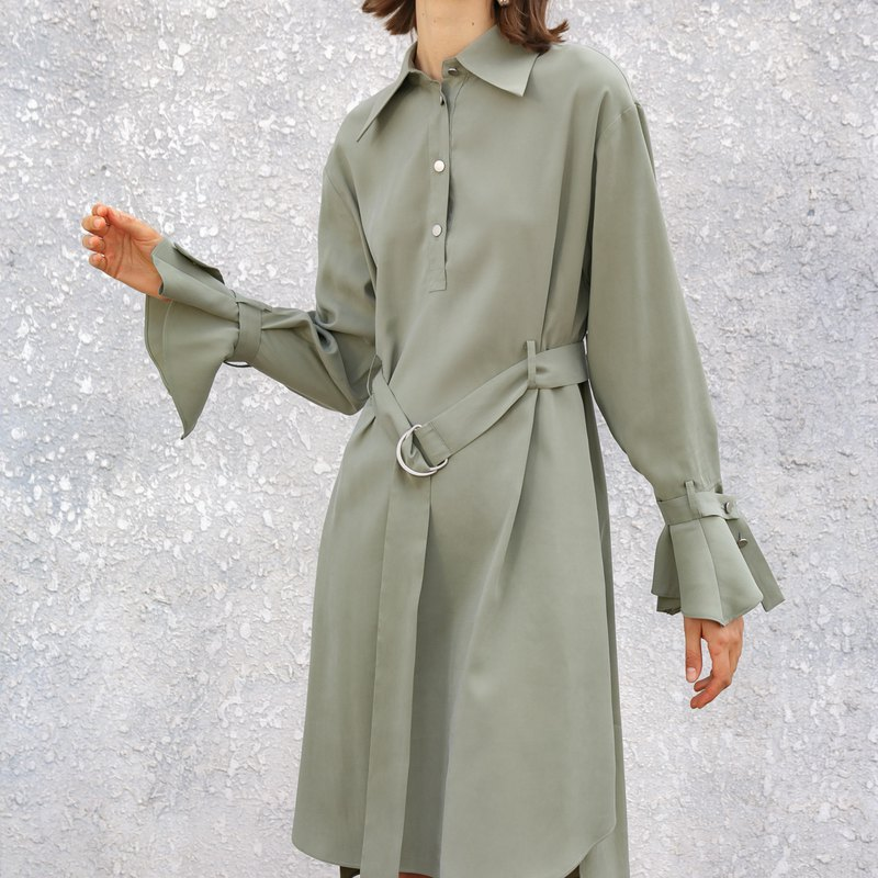 Long flare sleeve oversize dress with waistband