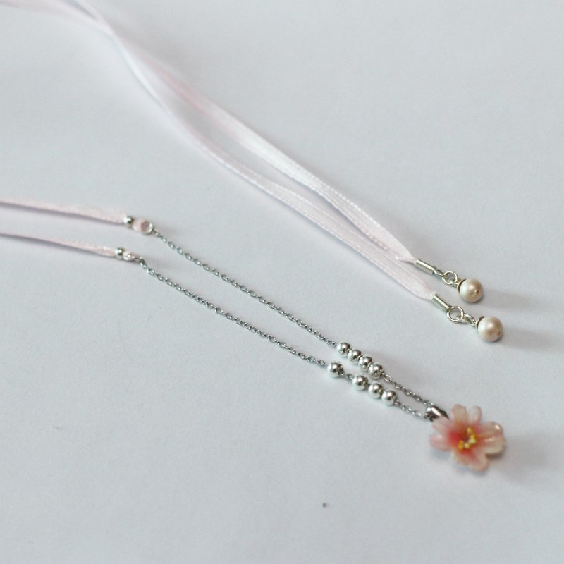 Pamycarie Spring resin clay pink ribbon necklace 925 sterling silver