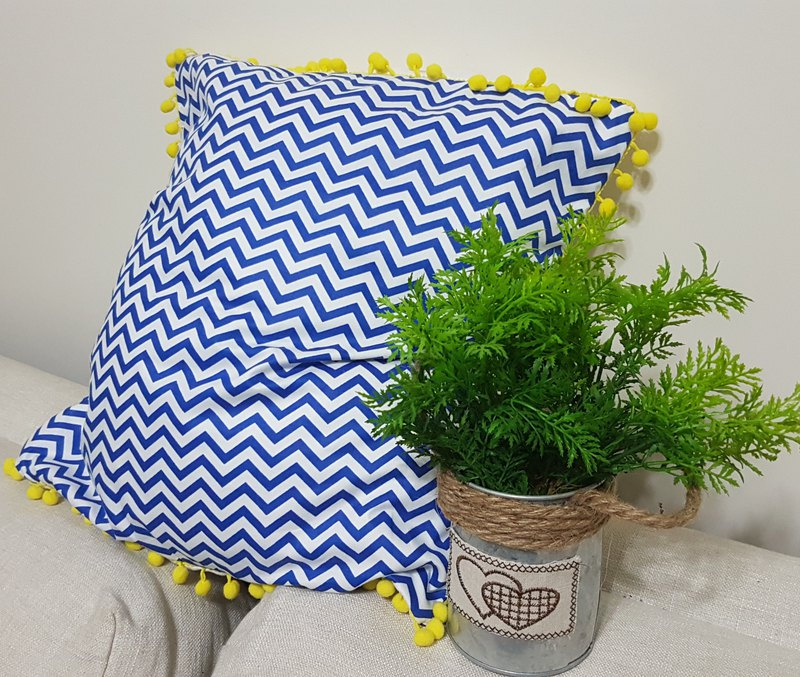 Scandinavian style simple color blue wave geometric pattern yellow fur ball pillow / pillow