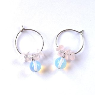 【Wreath】Powder crystal, Opal, Earring