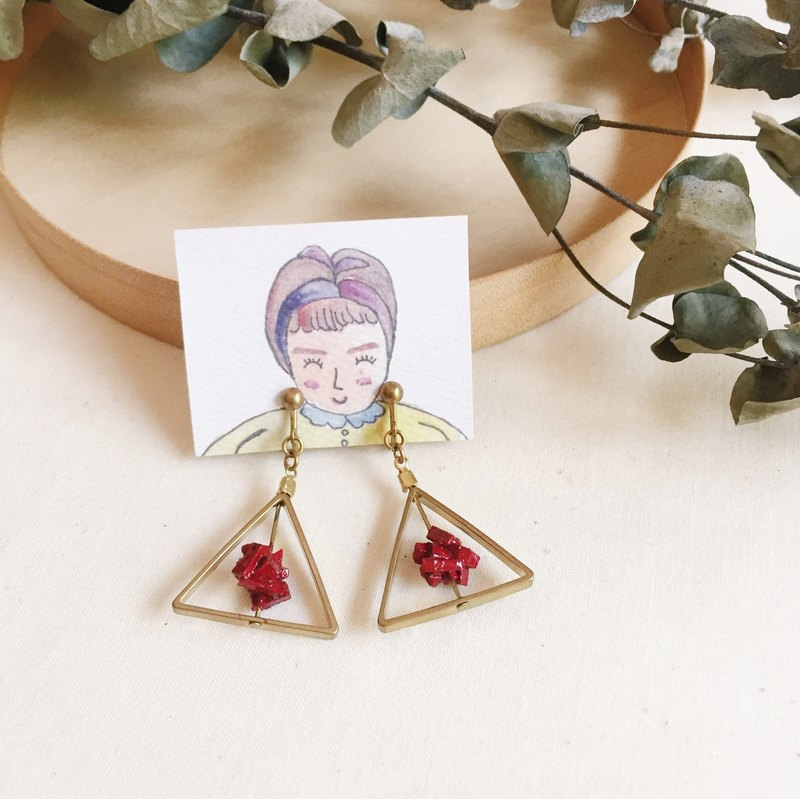 Wine plug and then re-triangular planetary clip earrings - wine red