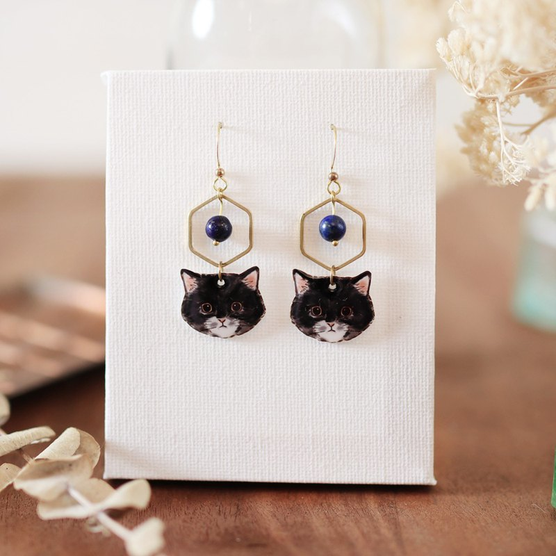 Small animal natural stone handmade earrings - to play with a funny cat stick can be changed