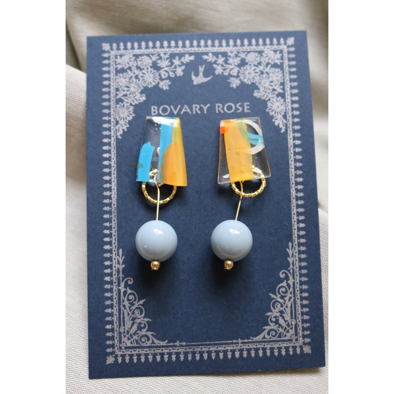 Childlike gray blue summer transparent hand painted ear clip earrings