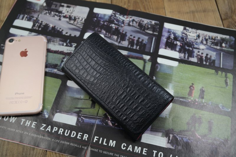 APEE leather manual ~ horizontal magnetic clasp hand take ~ crocodile skin black ~ (iphone 8 plus)