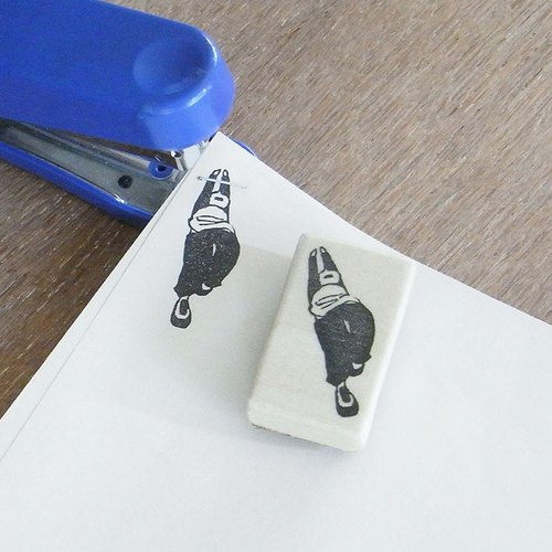 "Handmade rubber stamp for stapler ""Slide down"""