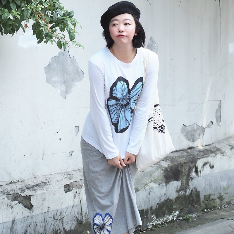 Original Spring and Autumn Printed Long Sleeved Cotton T-shirt