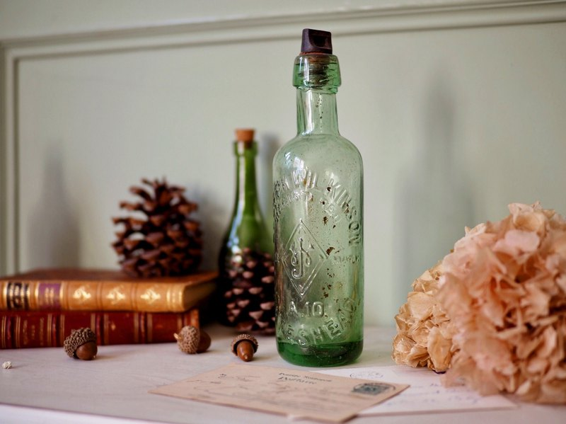 Green W cork hand blown glass bottle / syrup bottle hundred years old high 23.9cm