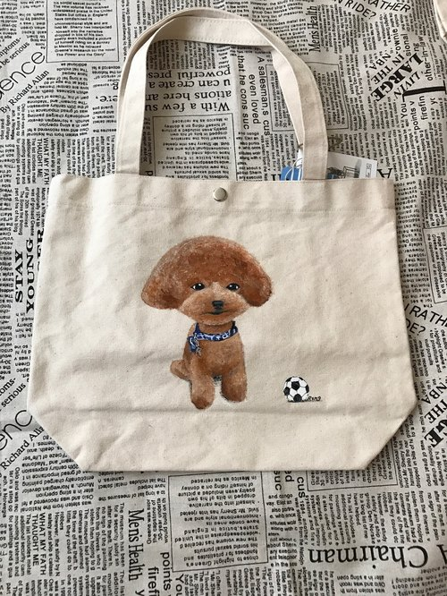 Japanese children painted canvas shoulder tote bag wool