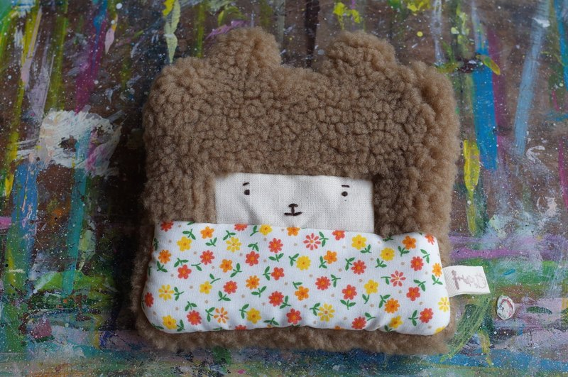 Duo rabbit buns purse - brown hair color -027 orange flowers