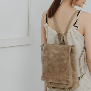 Minimalist square covered leather back pack 3 back method - khaki