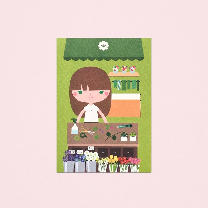 [Girls and Their Shops] lily's flower shop - Postcard
