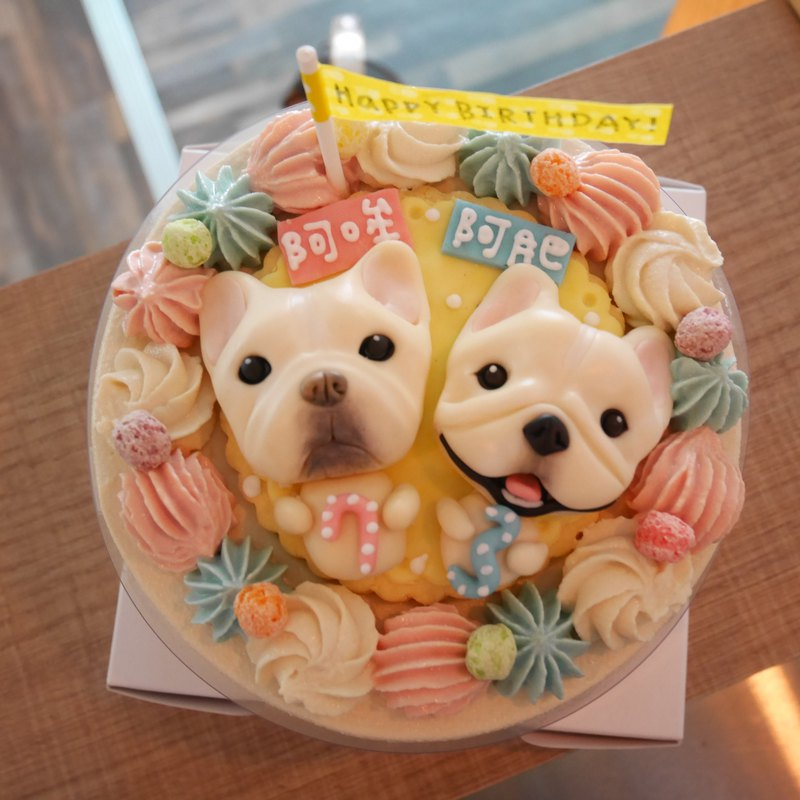 Dog cake plus sugar doll