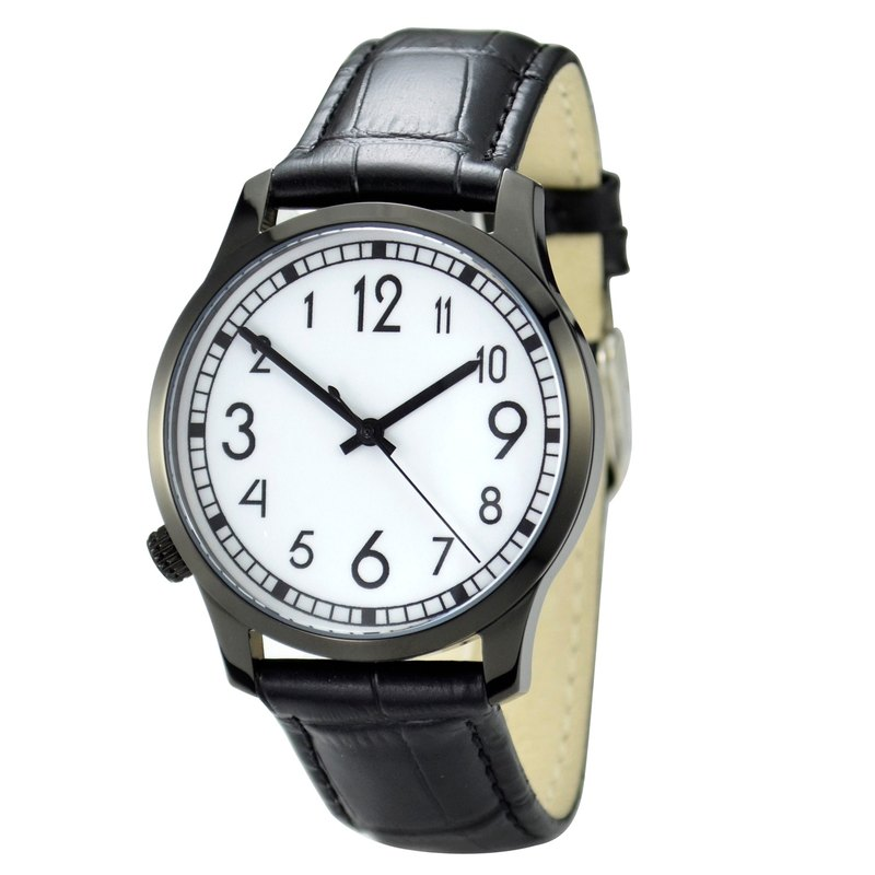 Backwards Watch Black Case Big Size Free shipping worldwide