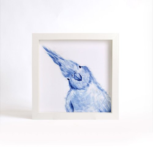 """Visit"" series blue copy painting - bird (excluding frame)"