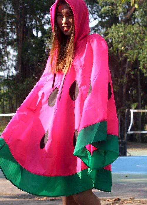 Neon Pink Watermelon Rain Poncho,with watermelon bag