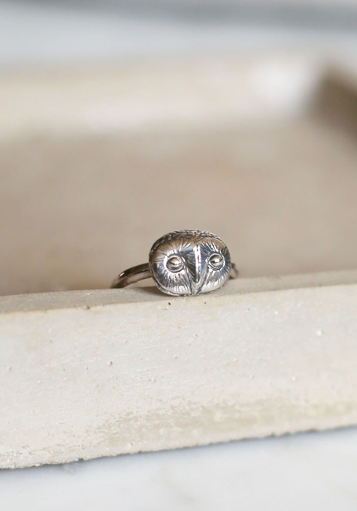 Petite Fille Female Unfinished Silver Handmade Little Owl Cangjie Silver Ring