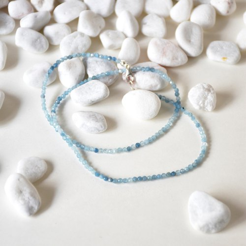 Handmade Sterling Silver with Tiny Aquamarine Beads Necklace, March Birth stone