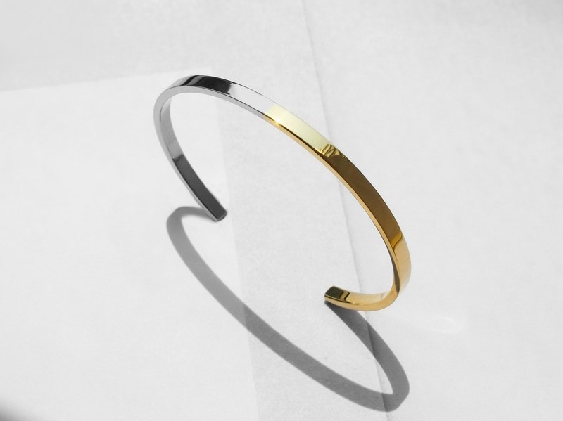 Two-Tone Minimal Cuff Bracelet | Polished Gold | Personalised Gift
