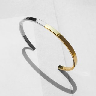 Two-Tone Minimal Cuff Bracelet | Polished Gold