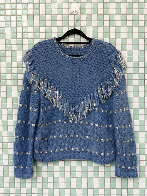 ♦♦ ◈ invincible children music vintage Japanese input line ◈ ♦♦ classic antique vintage fringed sweater stuporous