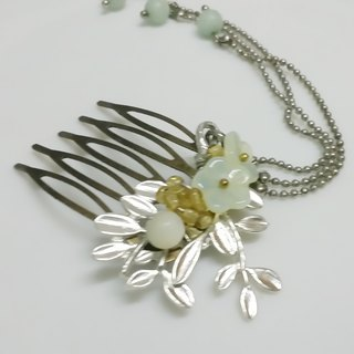 Putian China {silver} Czech glass flower natural Tianzhu brass fittings hand hair hair hairpin hair comb
