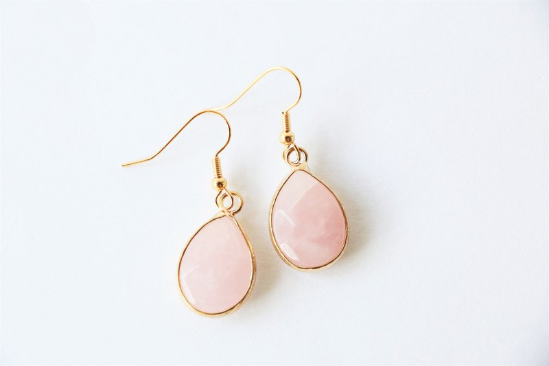 Rose quartz dangle earrings - 18k gold plated earrings - natural crystal earring