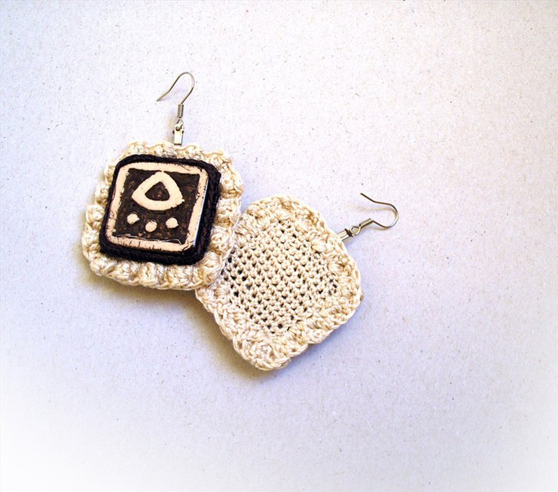 Crochet Tribal Earrings Square Art Tiles