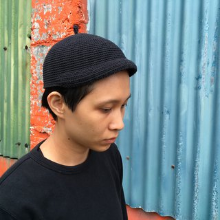 Billy Billy Jr. hand-woven cotton cap raw cotton washed old black chokdee-muakdeedee|