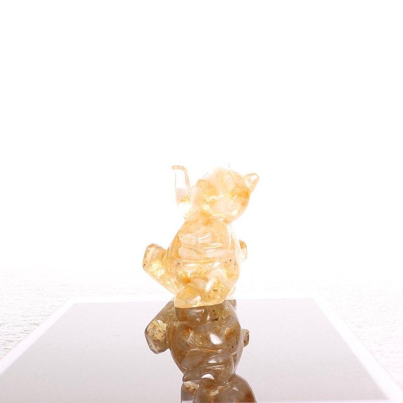 寶石元寶招財貓擺飾-開運黃水晶發財金運聚寶盆天然礦財位風水靈
