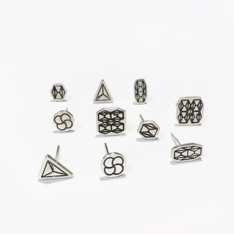 【Geometric Series - Sterling Silver Ear】 1 + 1 optional 2 pairs of ultra-value of the price
