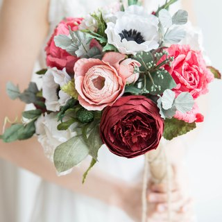 Red and Peach Anemone Bridal Bouquet