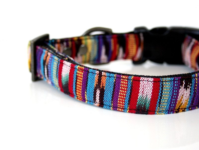 Colorful woven IKAT Dog Collar - red, yellow, purple, black Small Size