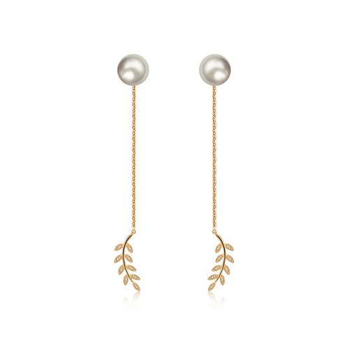 Greek Leaf Dangling Diamond Earring With Pearl