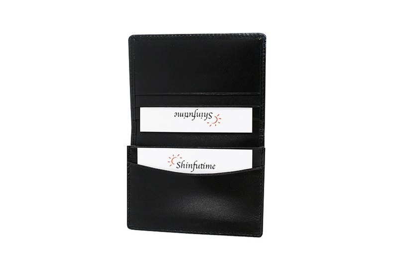 LAPELI │ fight color cow leather business card holder black
