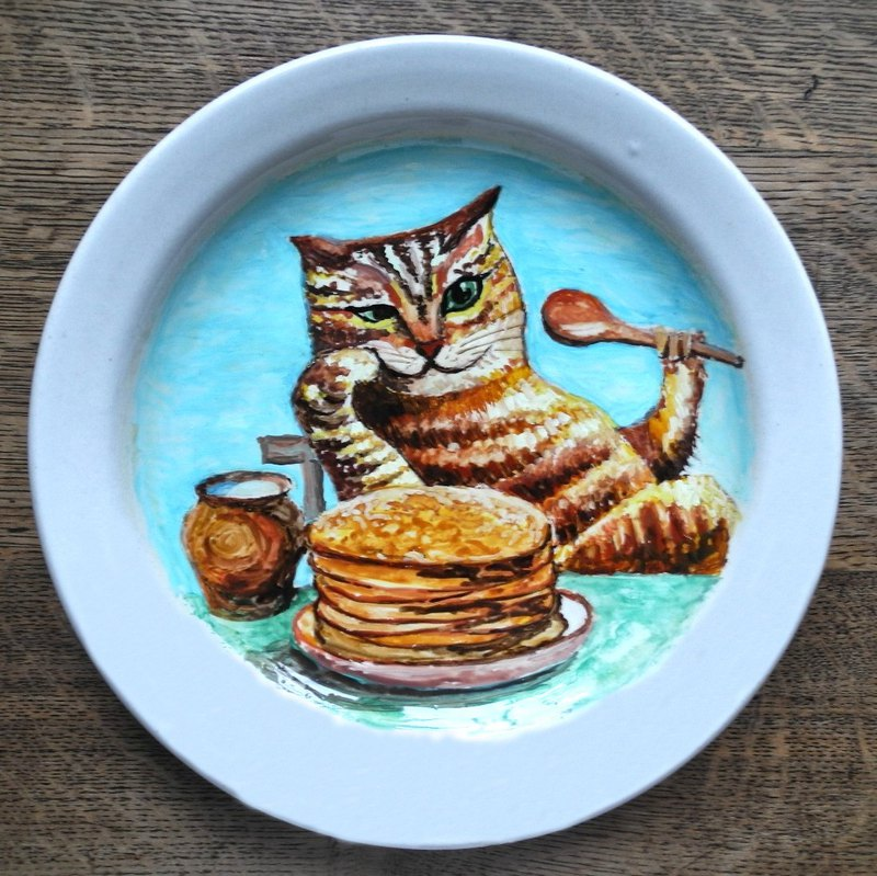 Wall Decorative Plate with Cat