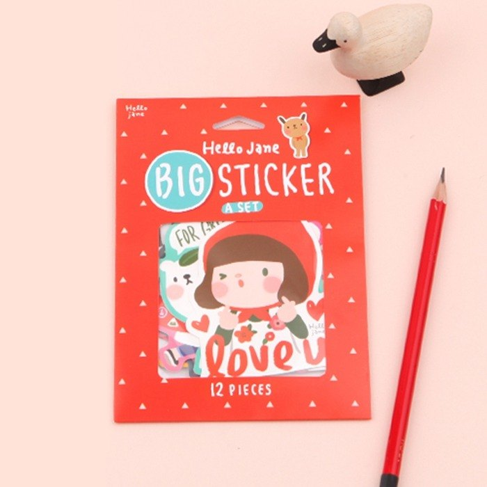 Jenny Big Sticker Set - A Red / 1 Set 12 In
