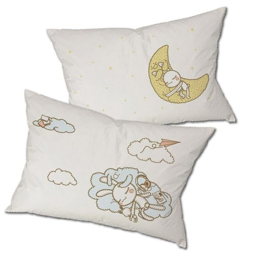 """Foufou"" pillow cover (on pillows) - sunny / Have A Nice Dream (gray / white)"